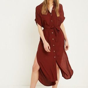Faithfull The Brand Faretta Maroon Shirt Dress